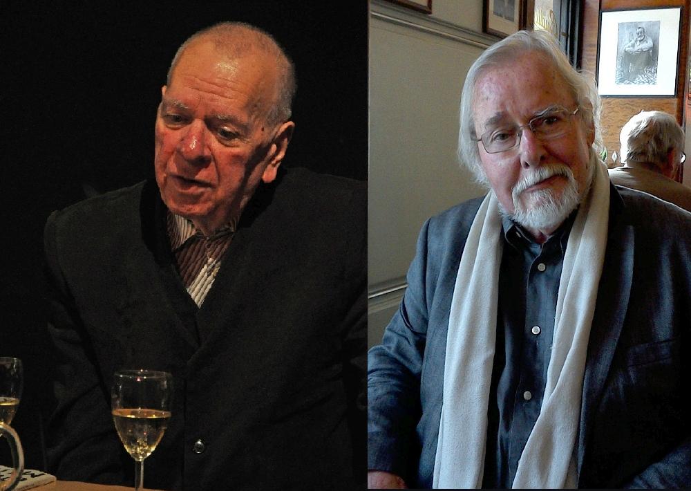 Foto: links Milan Uhde aufgenommen von Ben Skála, Foto rechts Jürgen Serke aufgenommen von K. Kountouroyanis