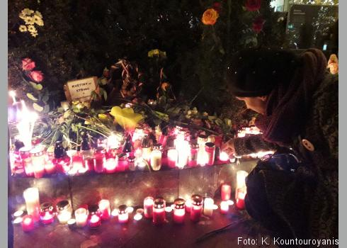 Zwei Tage zuvor begingen an dieser Stelle Tausende die Gedenkfeier für den Studenten Jan Palach, der sich vor 50 Jahren ebenfalls auf dem Wenzelsplatz selbst anzündete.