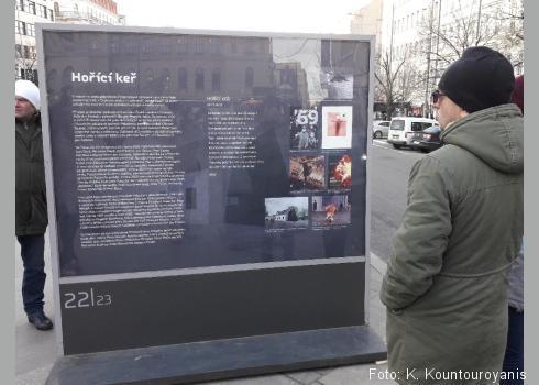 Informationstafeln vor dem Denkmal des Heiligen Wenzels erinnern an die Geschehnisse vor 50 Jahren.