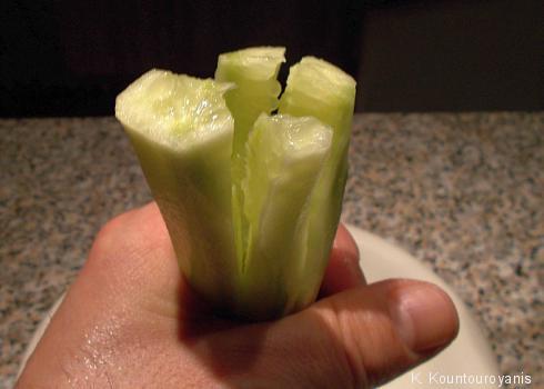 Vierteln und Würfeln Sie die Salatgurke. Geben Sie sie anschließend in die Salatschüssel.