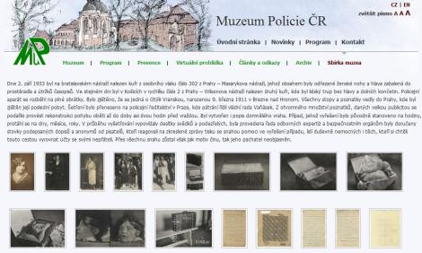 Webseite des Polizeimuseums in Prag
